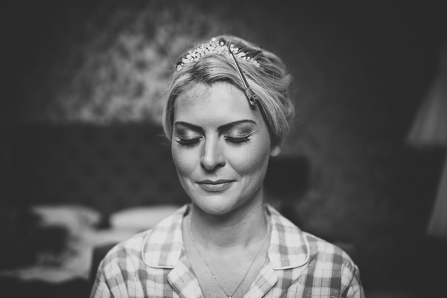 bride's make up nearly finished