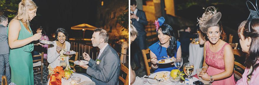 guests eating desert in borgo di tragliata