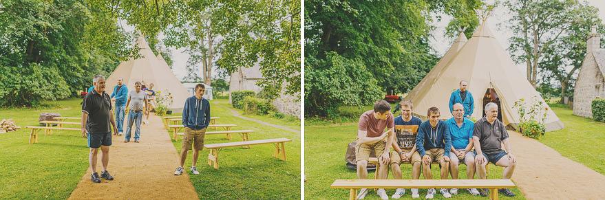 outdoor wedding preparations