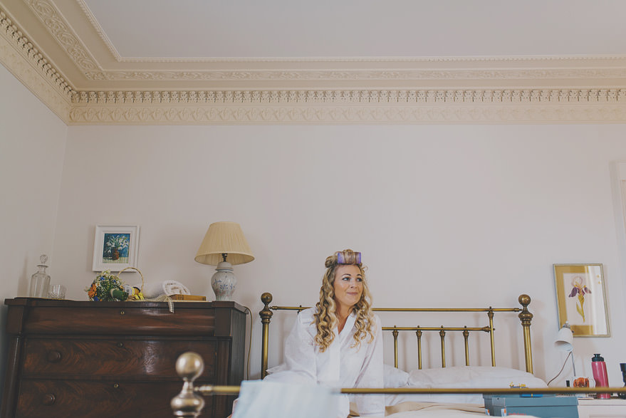 bride realxing before the wedding in Nethy Bridge