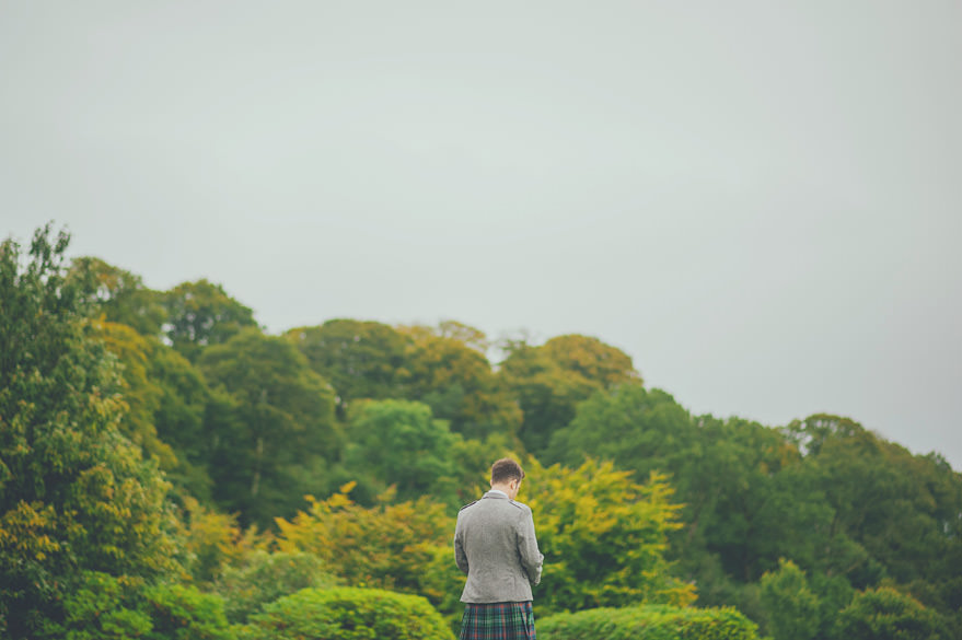 groom waiting outside lochnell castle