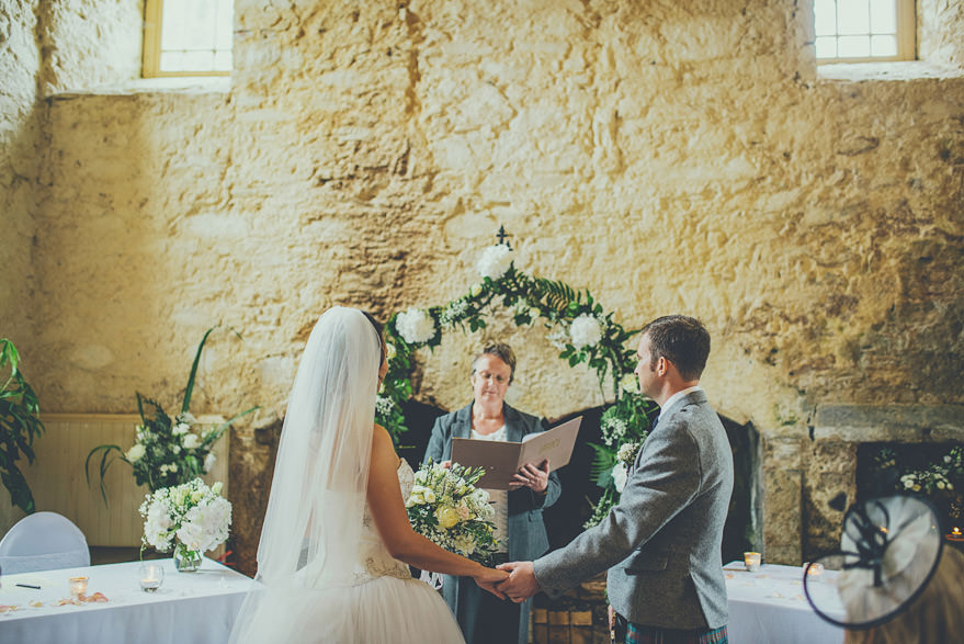 bride and groom in lochnell castle
