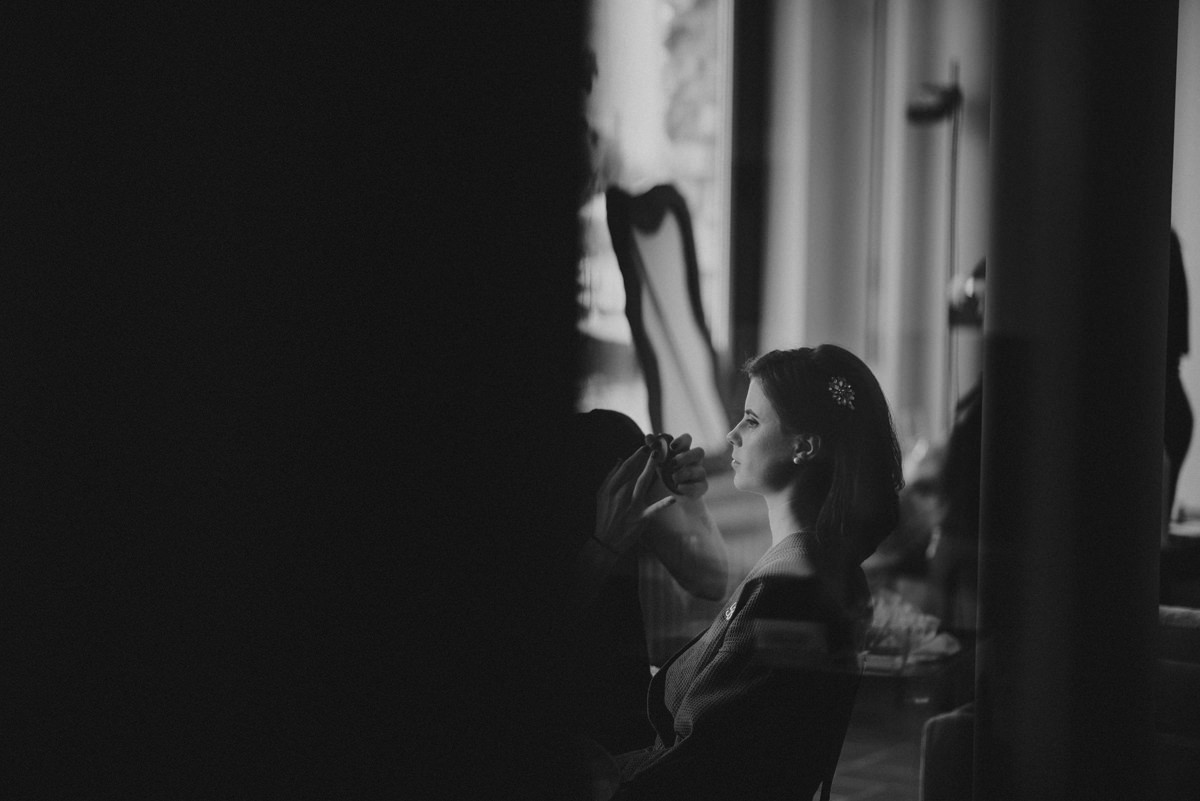 bride getting ready lake como wedding