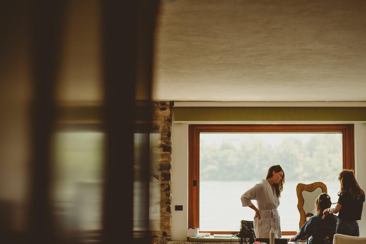 bride getting ready lake como wedding