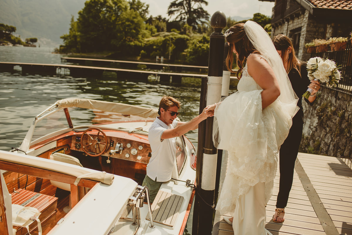 lake como wedding boat