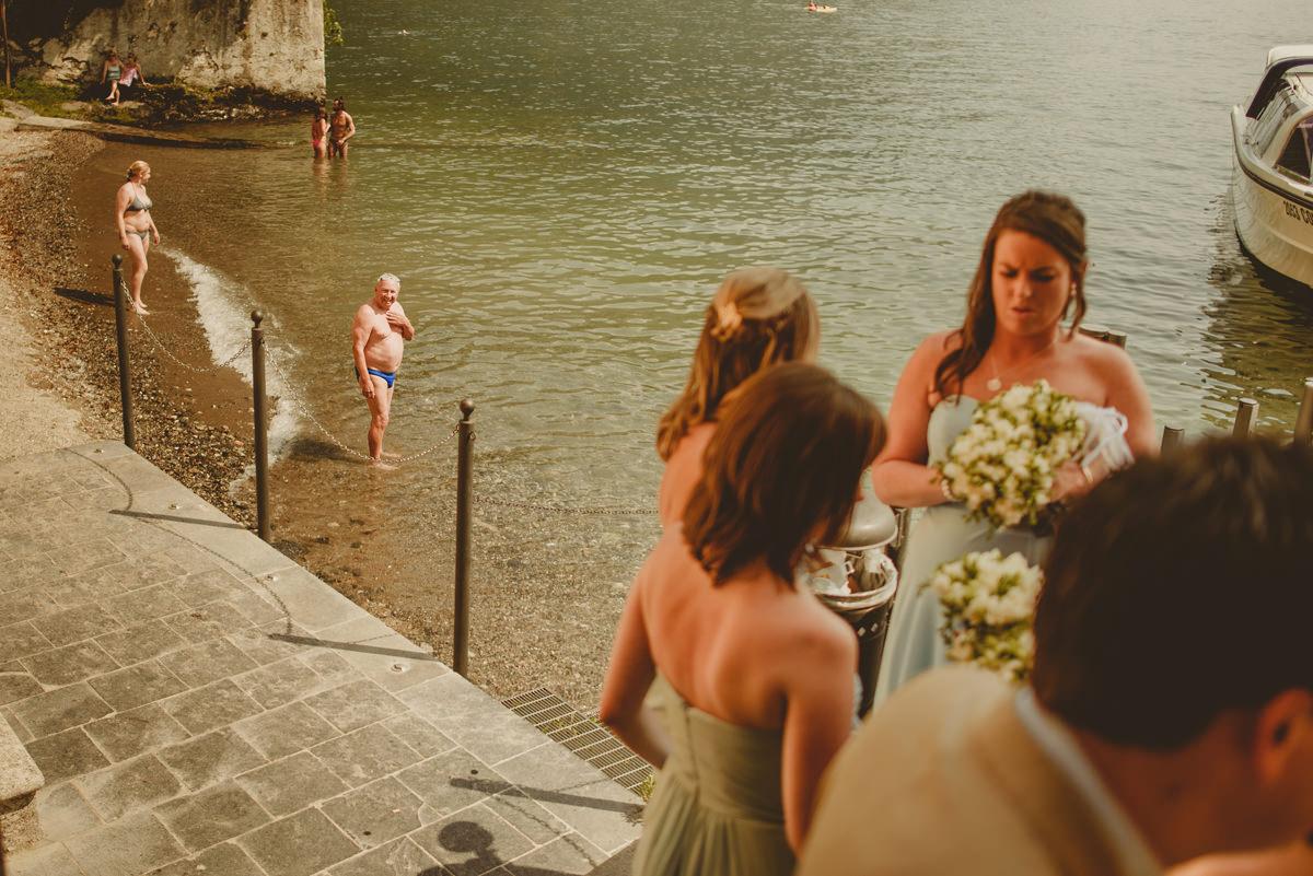 bridesmaids arriving at varenna