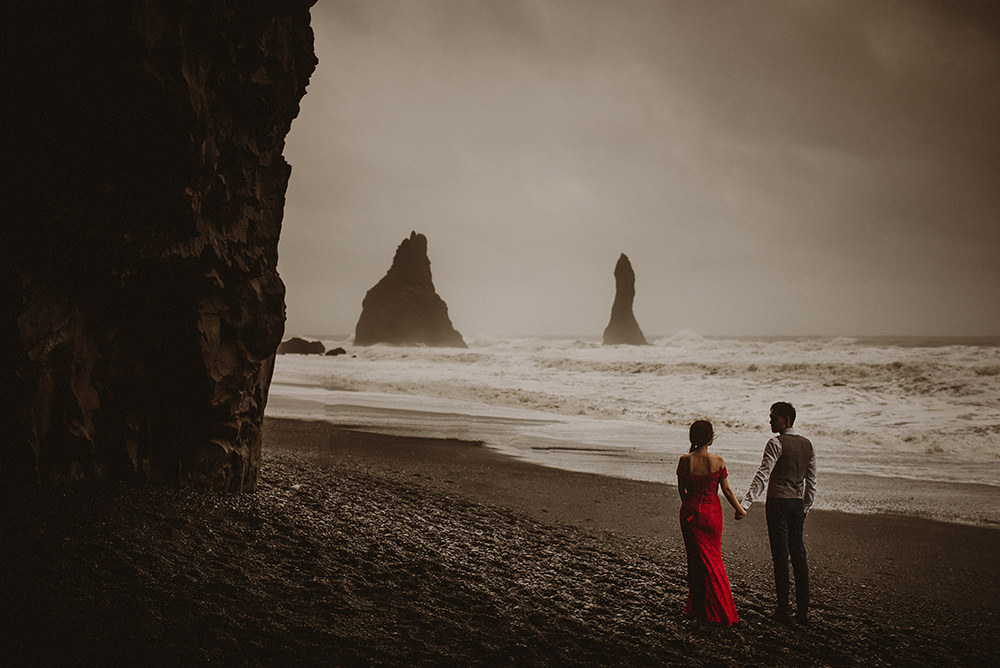 Black beach wedding
