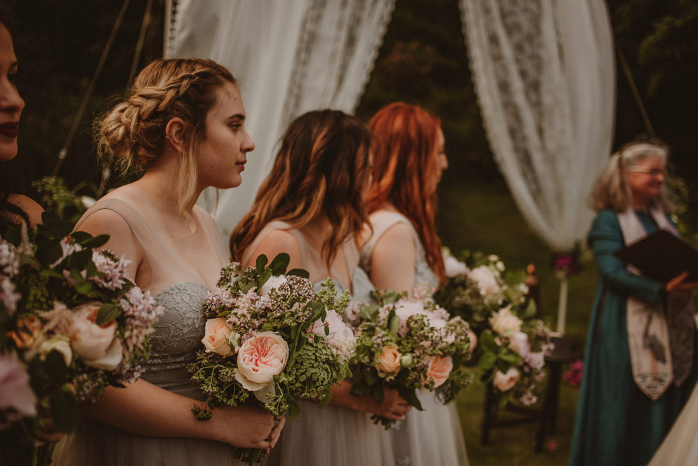 bridesmaids at outdoor ceremony