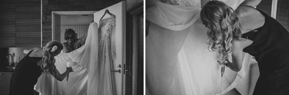 bride preparations at wedding in finland